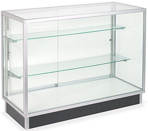 Free Standing Glass Display Cabinet Tempered Glass And Clear Coat Aluminum Frame For Retail Use Glass Cabinets Display Adjustable Shelving Glass Display Case