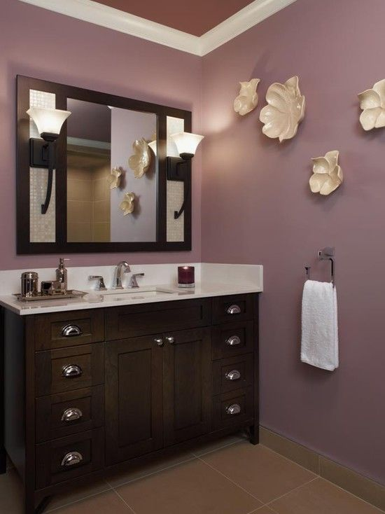 22 Eclectic Ideas Of Bathroom Wall Decor Purple Bathrooms