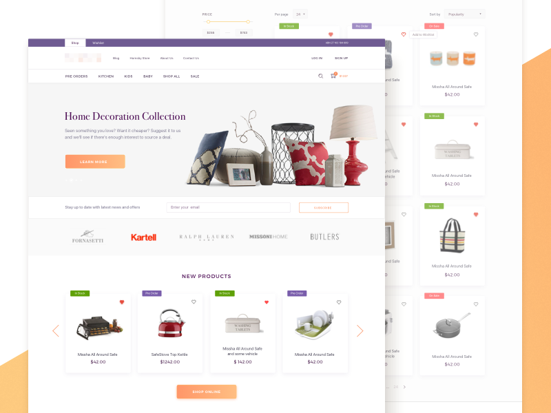 E-Commerce Website Home and Products Pages