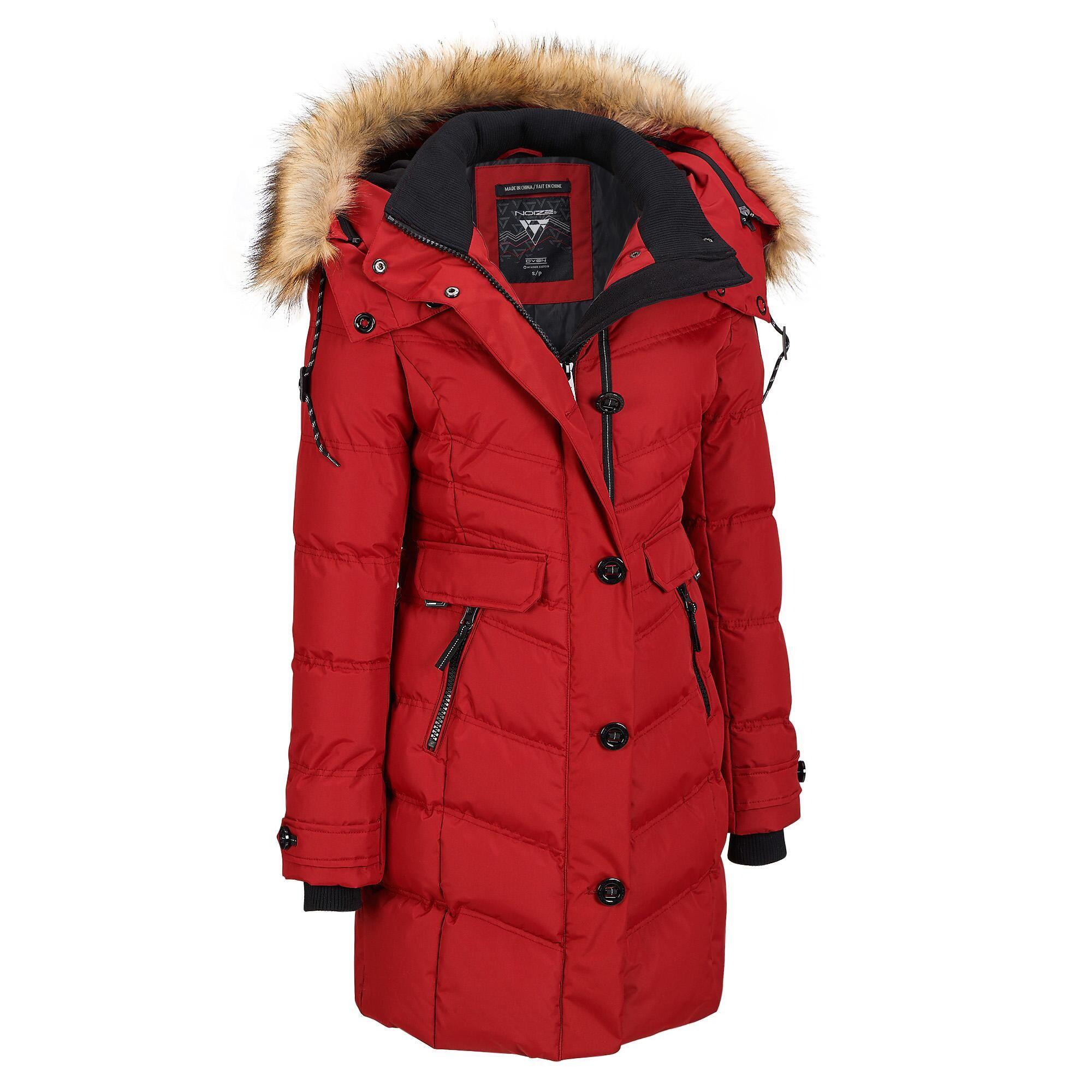Noize Puffy Walker W Removable Faux Fur Trim Hood Long Trench Fur Trim Parka Coat Puffy Coat [ 2000 x 2000 Pixel ]