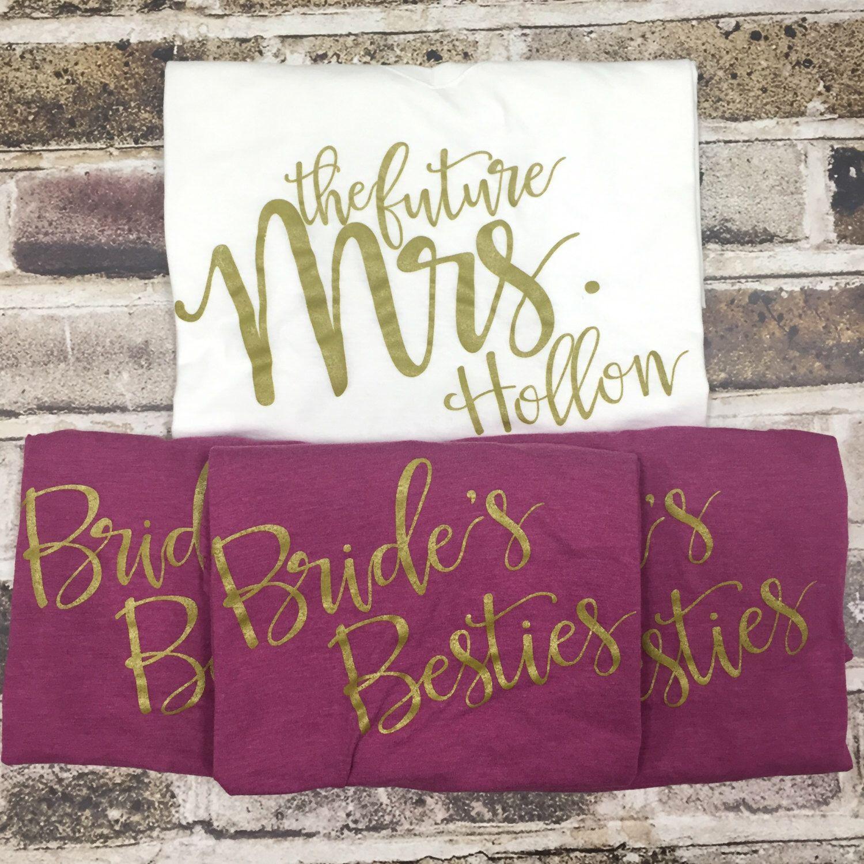 Custom Bridal Party Shirts Set, Bride's Besties, Bride to ...