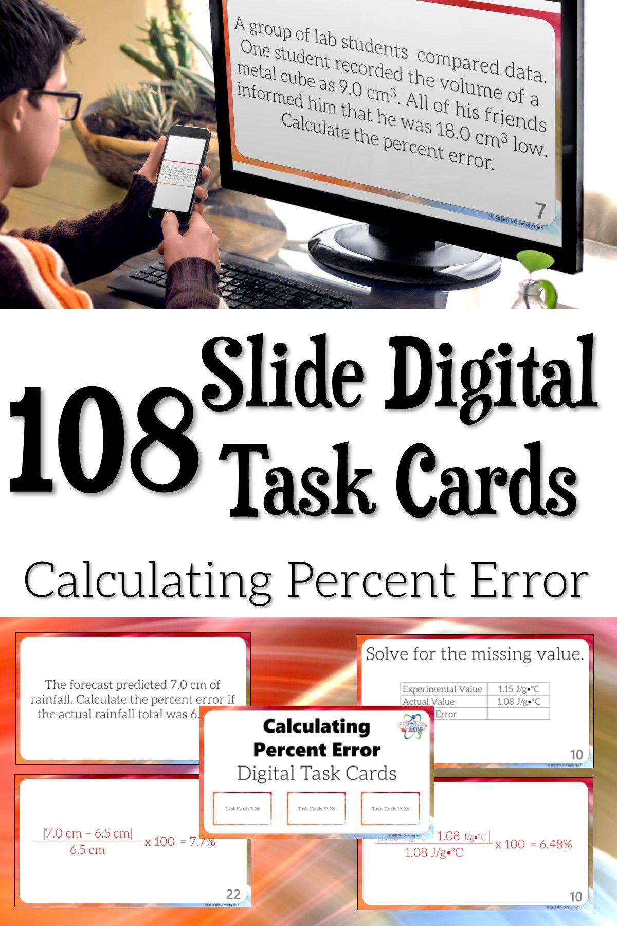 108 Slide Digital Task Cards Calculating Percent Error Task Cards Digital Task Cards Learning Stations