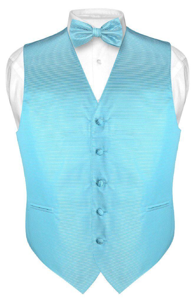 Men's Dress Vest & BOWTie Turquoise Aqua Blue BOW Tie Horizontal Stripe Set