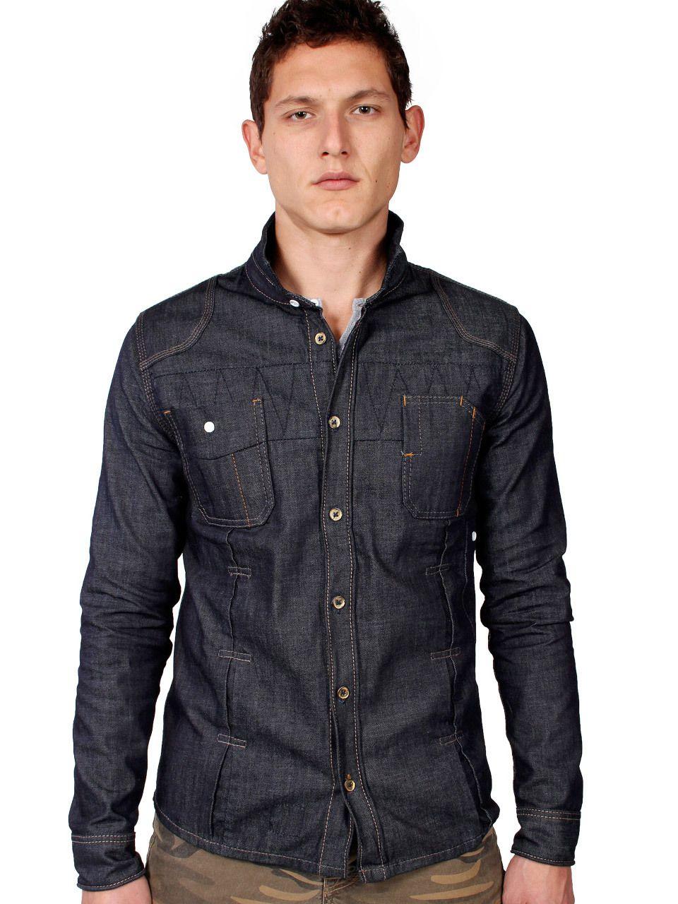 dd81094764f7 Men s Raw Denim Shirt in Slim Fit (Long Sleeve Raw Denim Work Shirt ...