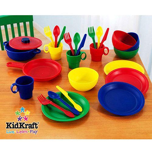 KidKraft 27-Piece Kitchen Play Set, Children Kitchen Play Set, Plastic Kitchen Play Set, Deluxe Kitchen Set