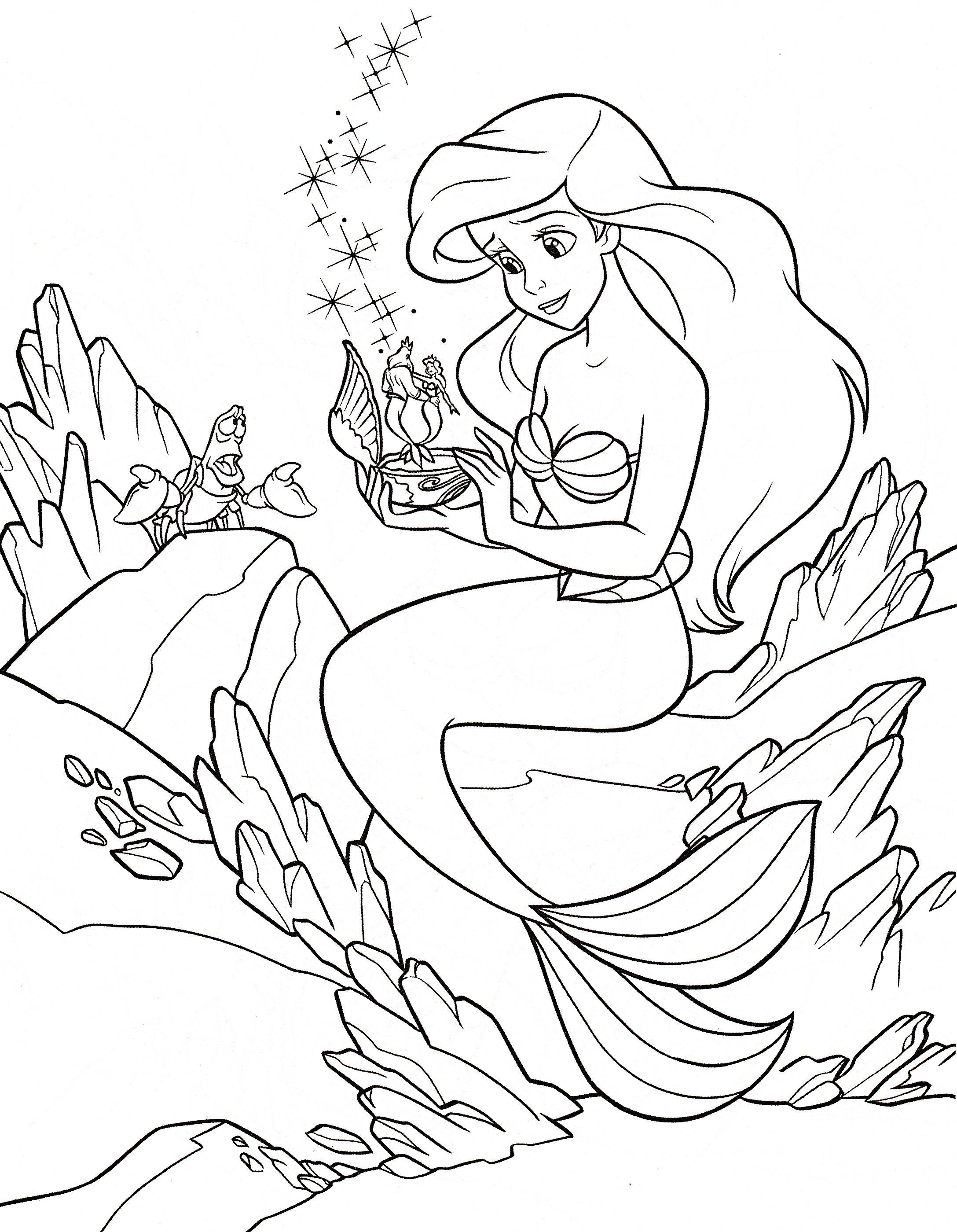 Walt Disney Characters Photo Walt Disney Coloring Pages Sebastian Princess Ariel Ariel Coloring Pages Disney Princess Coloring Pages Mermaid Coloring Book [ 2799 x 2175 Pixel ]