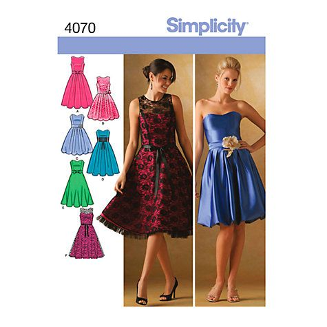 Buy Simplicity Cocktail Dresses Sewing Pattern, 4070 Online at johnlewis.com