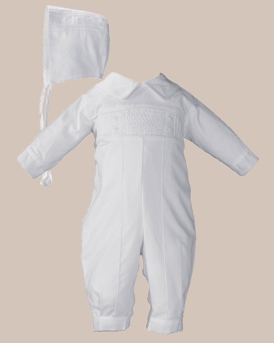 Long Pant Christening Baptism Coverall Hand Smocked Pin Tucked Long Sleeve