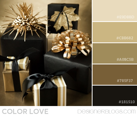Pretty Color Schemes: Gold Christmas Decorations, Gift Wrapping