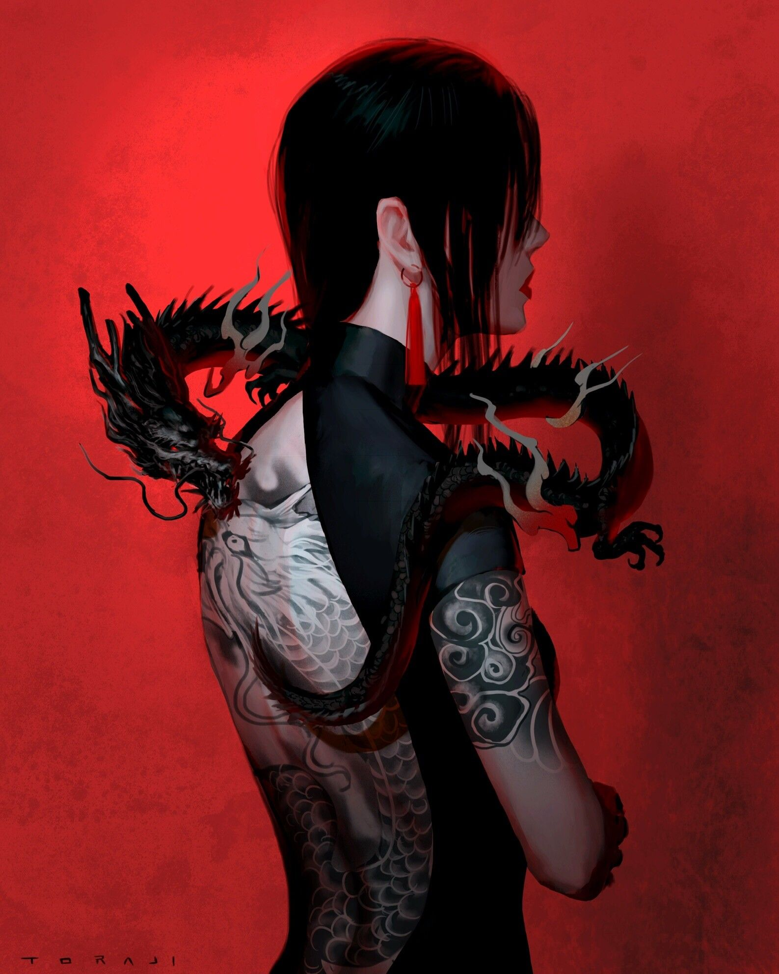 Artstation 101 Black Dragon Toraji Black Dragon Warriors Wallpaper Anime Wolf