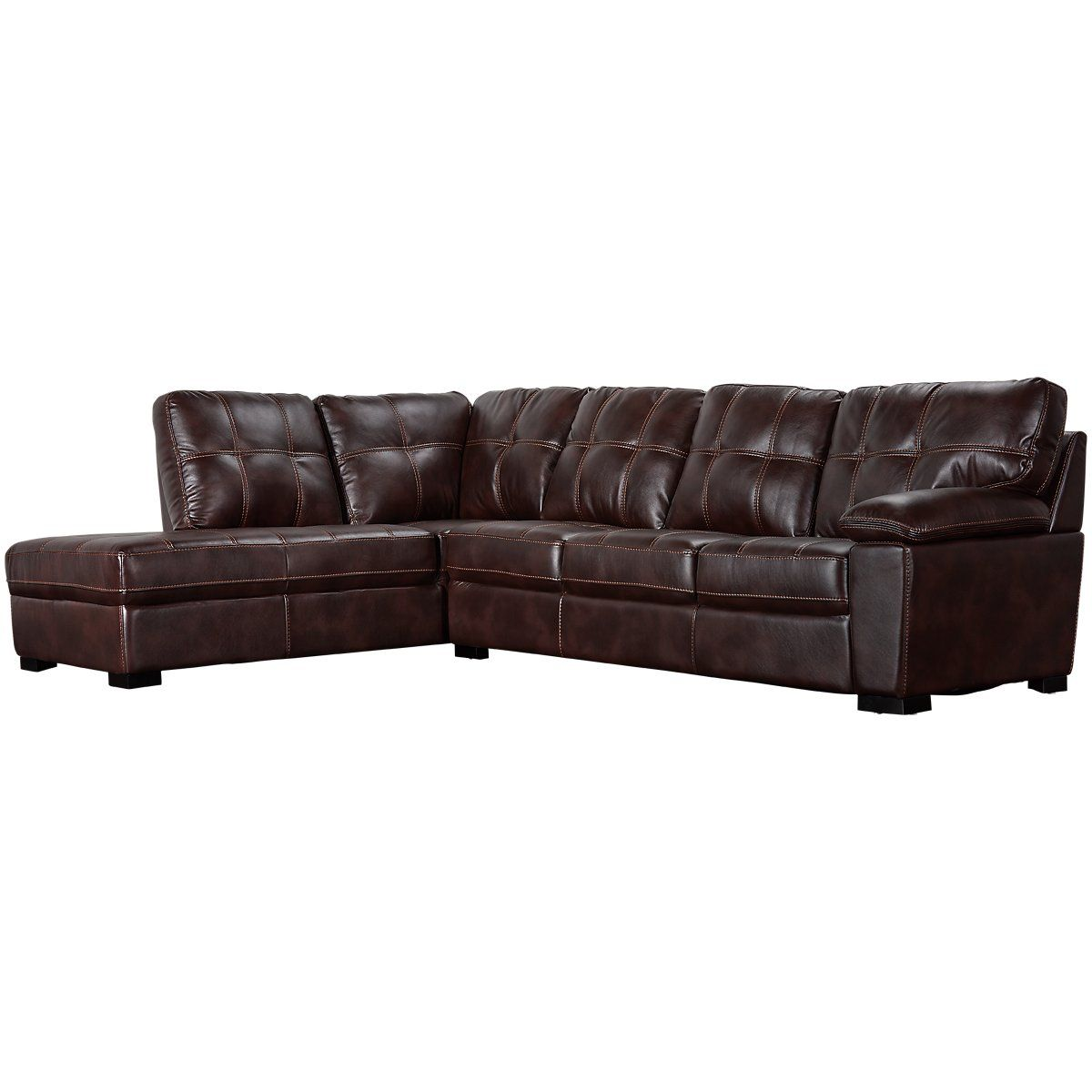 Henry Dark Brown Microfiber Left Bumper Sectional Living Room Sectional Furniture Living