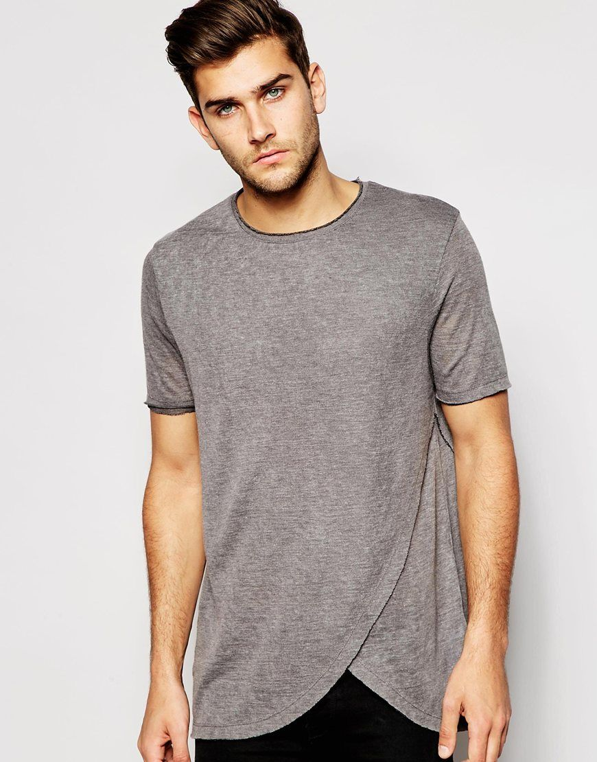 dc607d957530 ASOS Longline T-Shirt With Curved Hem And Raw Edges | Closet | T ...