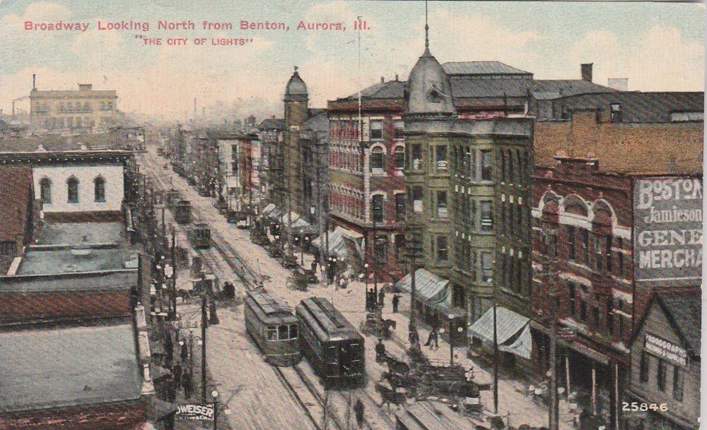 Aurora Illinois Trolleys On Broadway North Of Benton 1911 Aurora Chicago Hope Benton