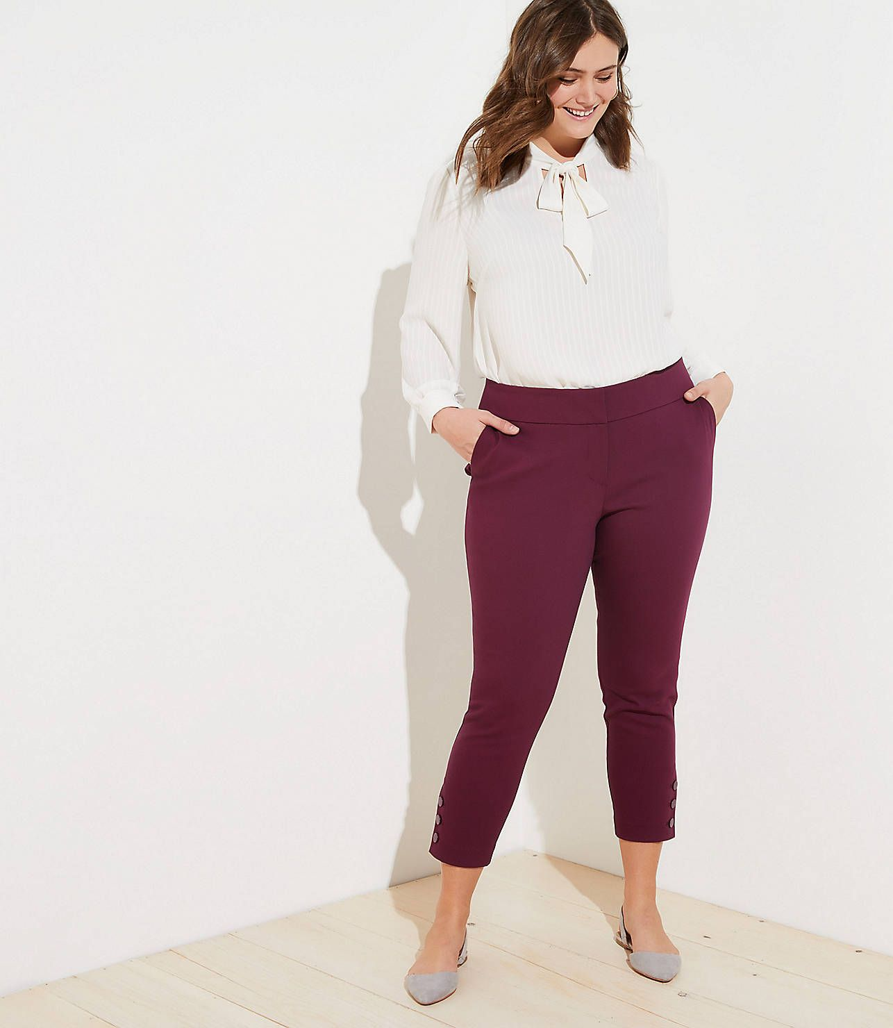 dded4afc569 LOFT Plus Skinny Button Cuff Ankle Pants