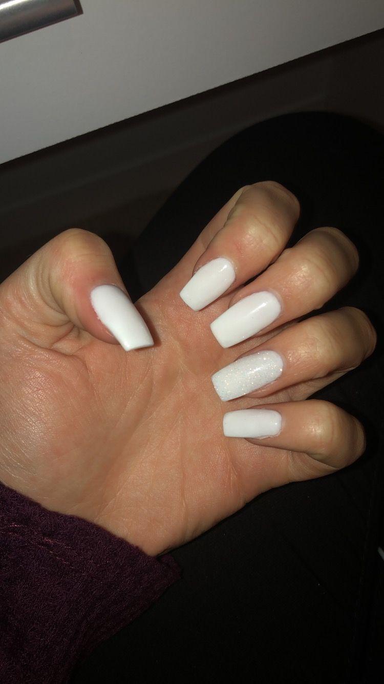 White Acrylic Nails Square Coffin Shape Glitter Fake Nails White Acrylic Nails White Acrylic Nails With Glitter Square Acrylic Nails