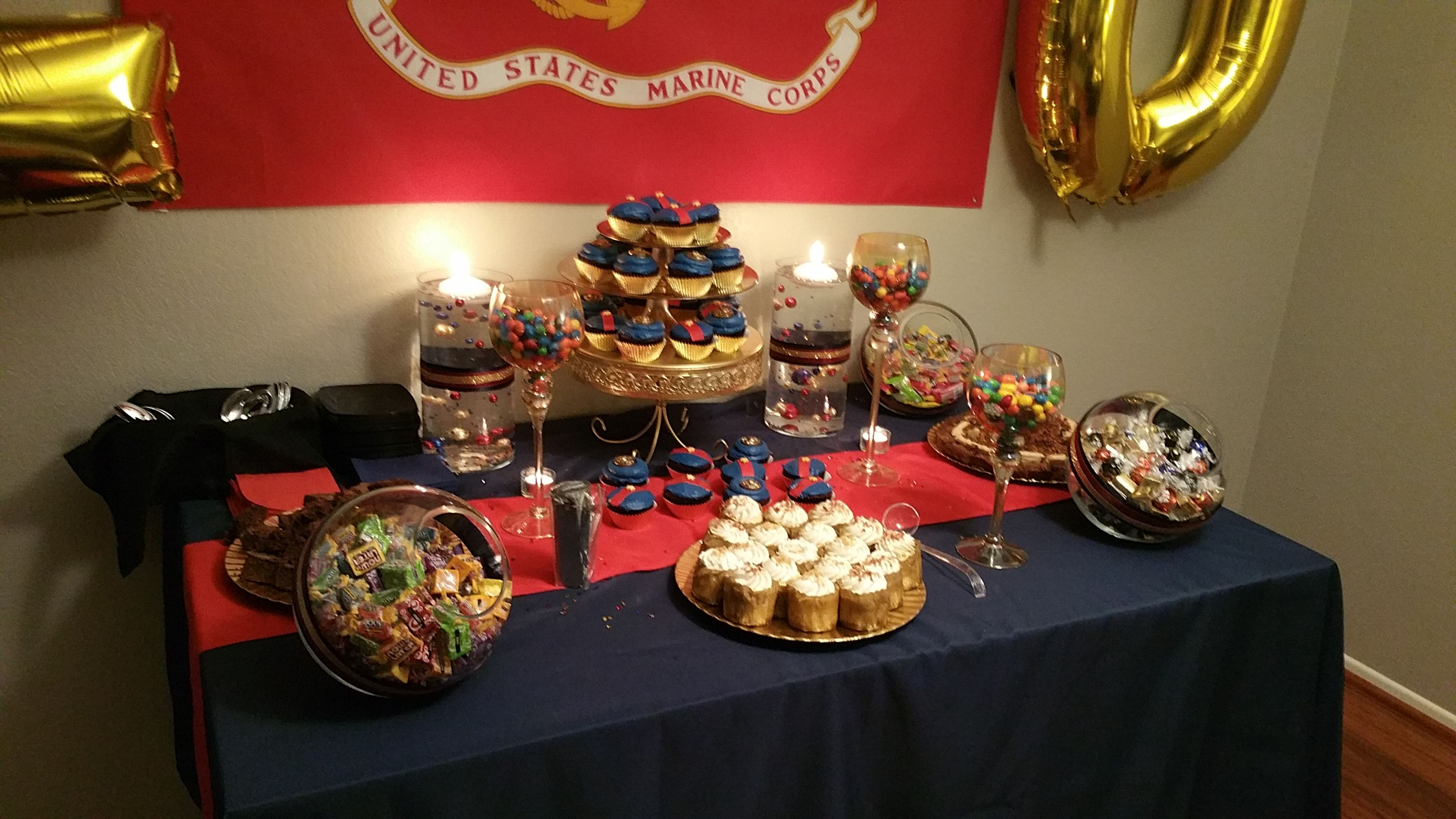 Dessert Table created for a Marine Corps Retirement event