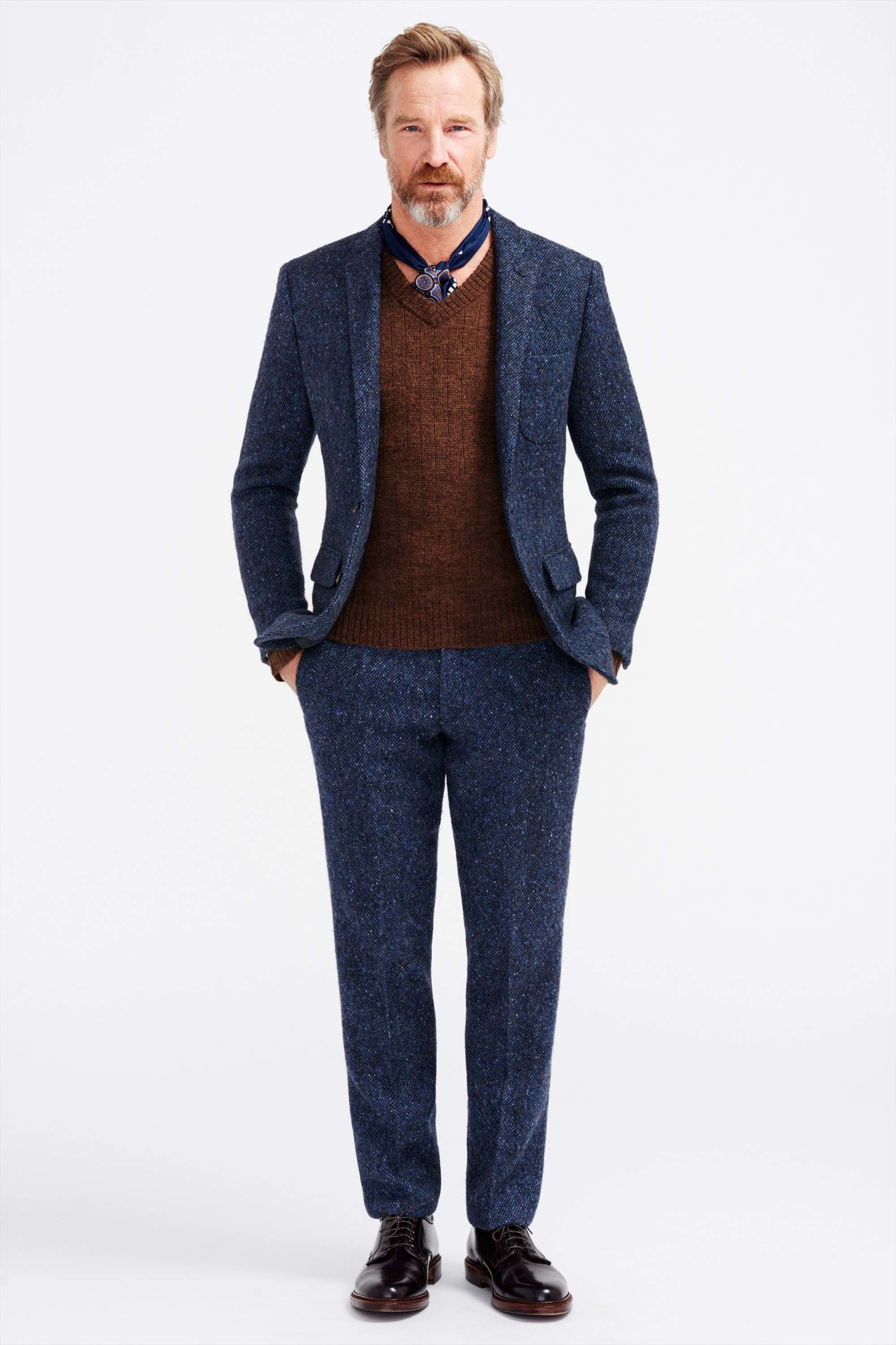 Men's Navy Wool Suit, Brown V-neck Sweater, Black Leather Dress ...