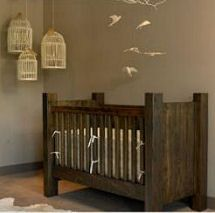 Rustic Baby Nursery Decor With Recycled Homemade Wooden Crib