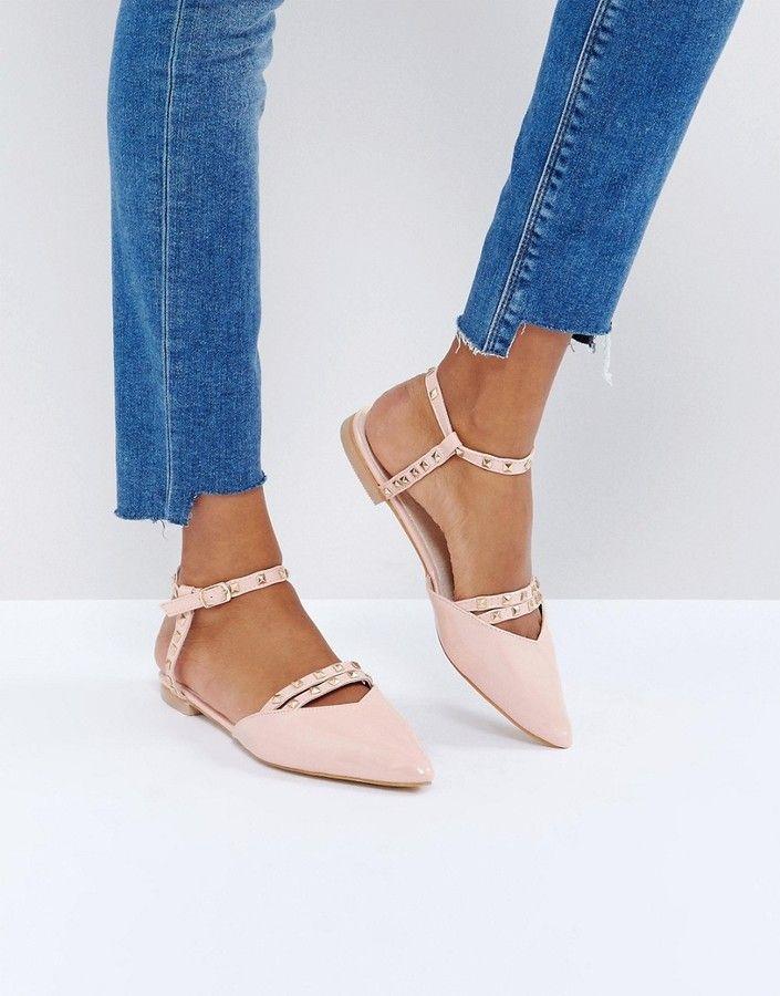 09d4ca3733d0 Glamorous Cut Out Point Flat Shoes