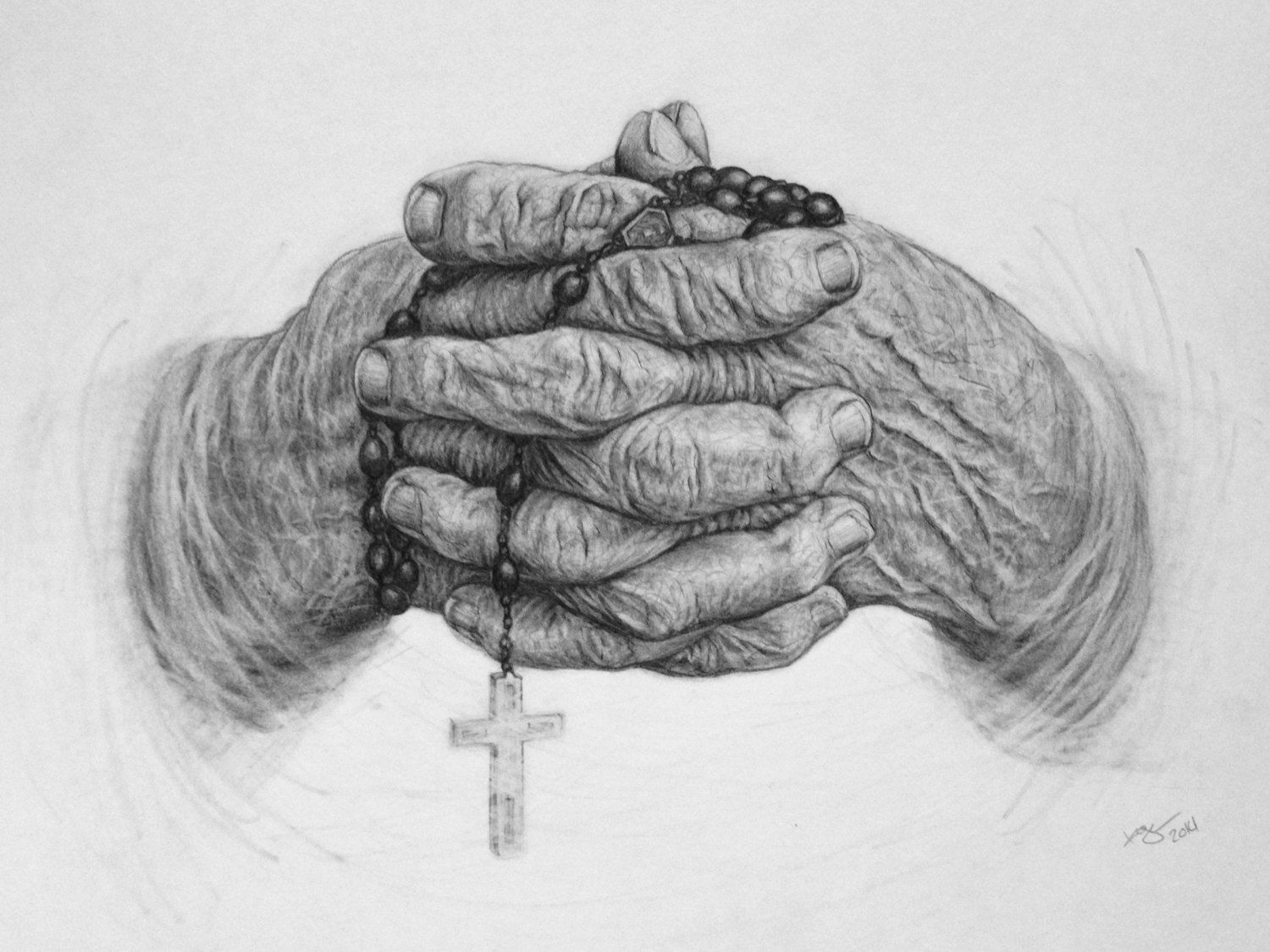 Rosary hands religious art prayer pencil drawing unisex