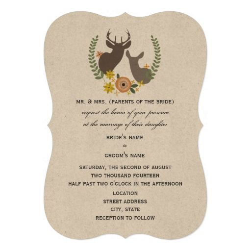 Rustic Deer Wedding - Rustic Floral Custom Invites