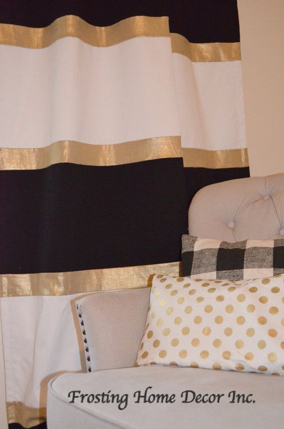 Custom Black White And Gold Striped Curtains Color Blocked