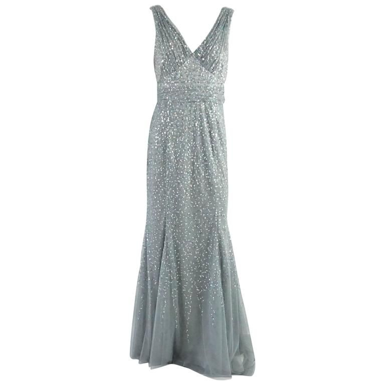 1f9d9bb5077 Valentino Pale Blue Mesh and Sequin Sleeveless Gown