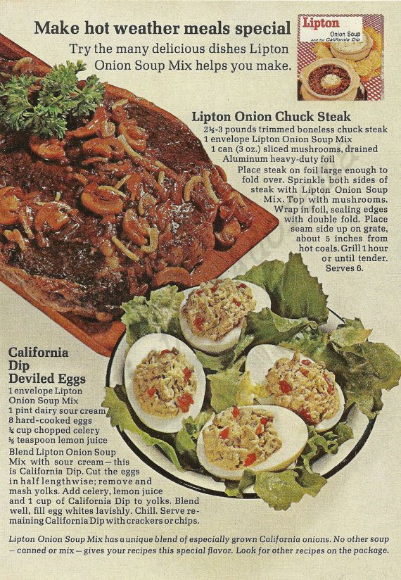Lipton Onion Soup Original 1965 Vintage Color Print Ad ...