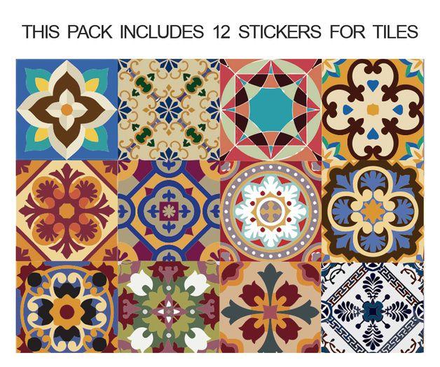 Vinilo azulejos talavera 10 x 10 cm pinterest for Azulejos antiguos para cocina