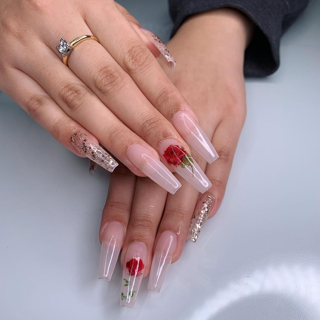 Image May Contain One Or More People Red Acrylic Nails Rose Nails Pretty Acrylic Nails