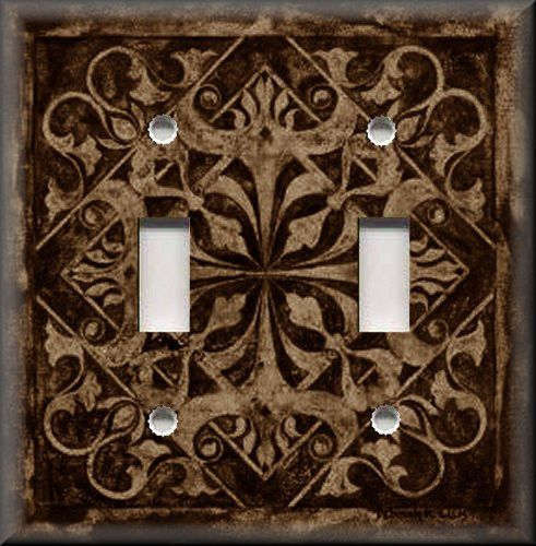 light switch plate cover home decor tuscan tile pattern dark brown