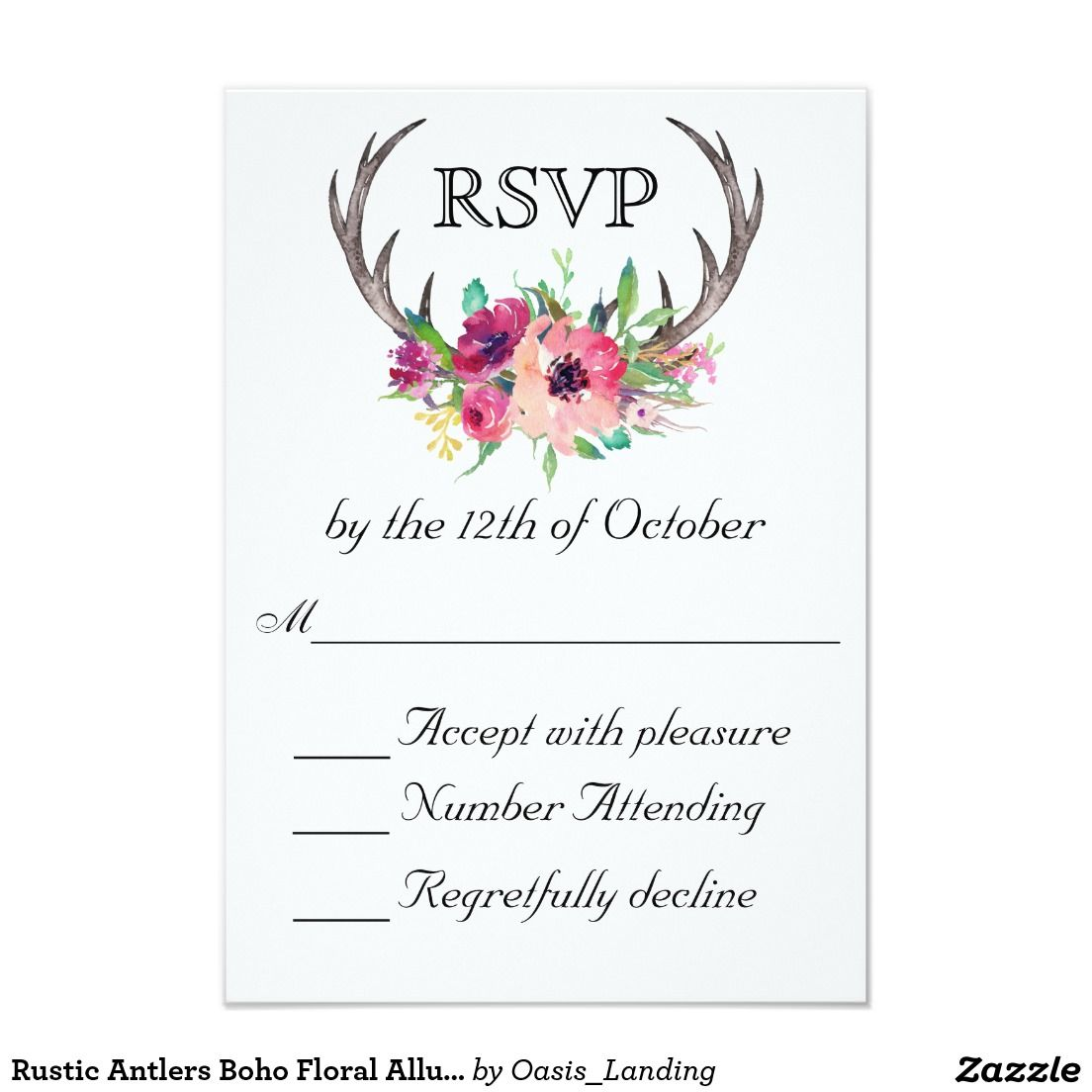 Rustic Antlers Boho Floral Allure Wedding Card - With enchanting rustic boho style, this wedding RSVP Card design features deer horns beautifully embellished with watercolor florals in rich purple and pink hues. Include your required RSVP response date in place of the sample text shown. Sold at Oasis_Landing on Zazzle.