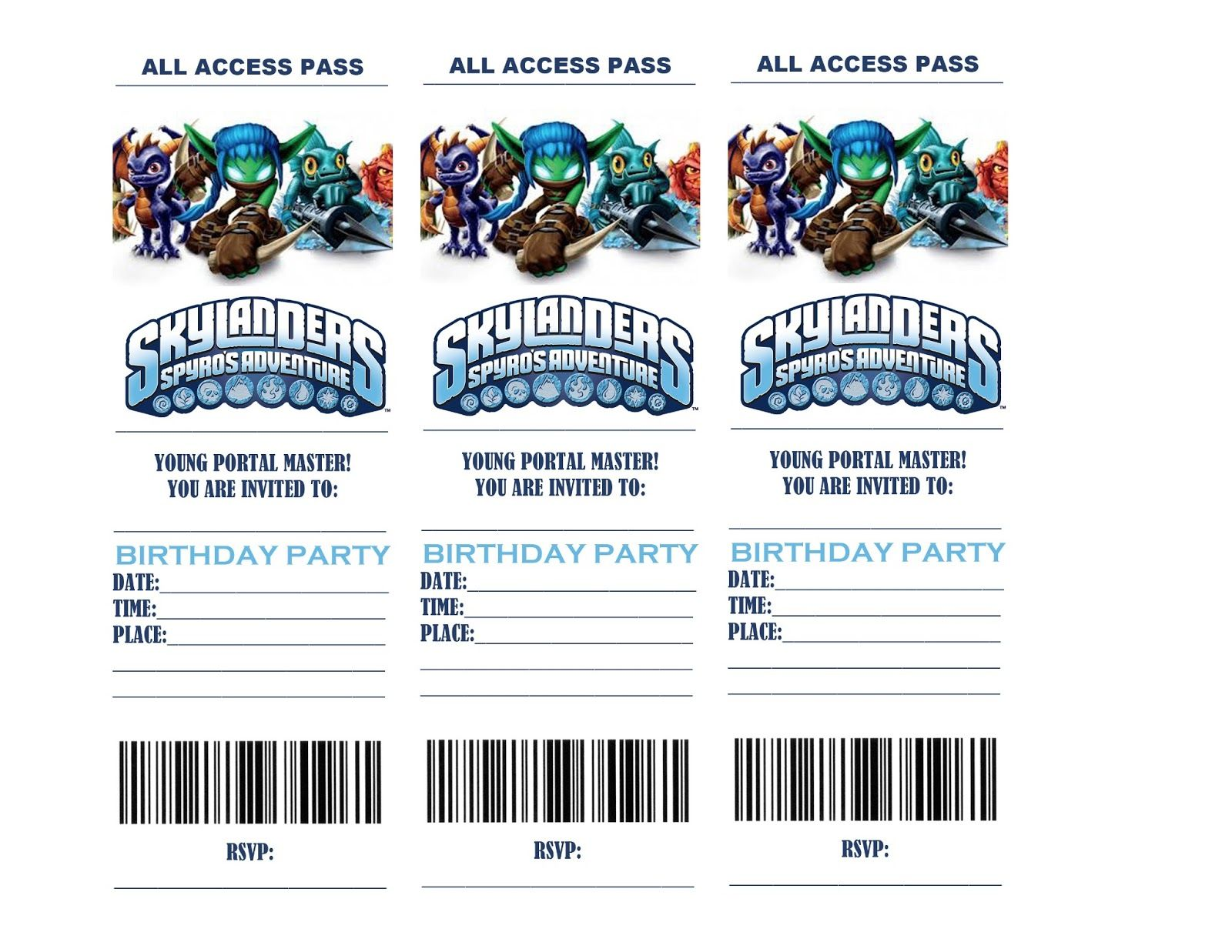 Skylanders Birthday Party invitations are hard to come by! My son is ...