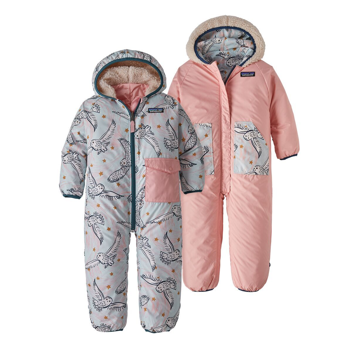 Infant Reversible PuffBall Bunting Baby snowsuit, Snow