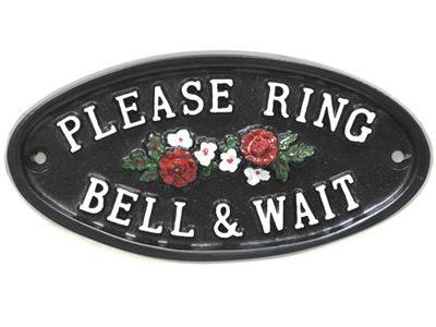 6705807be1445 Please Ring The Bell With Flowers Door Sign in 2019   Front Door ...