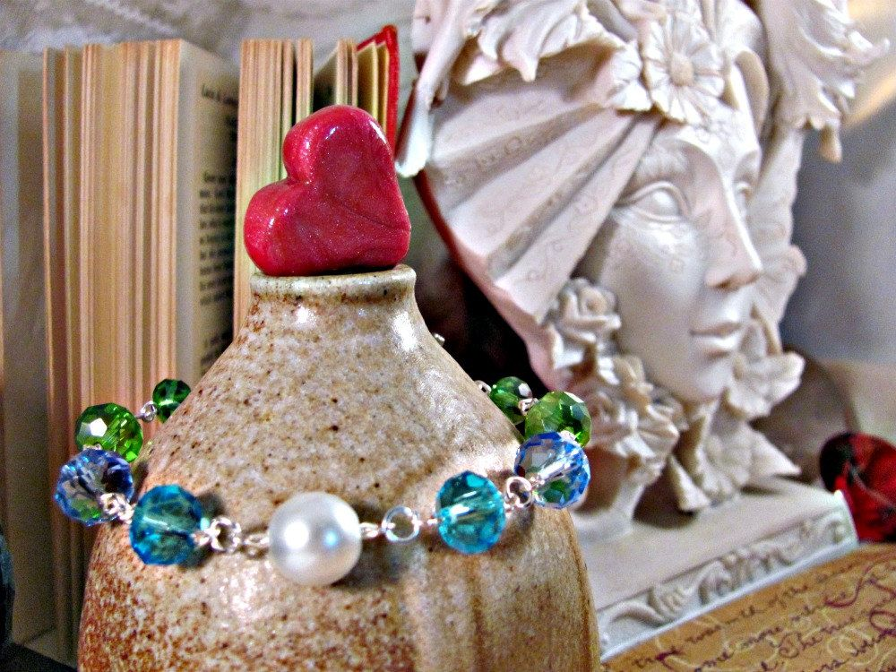 Mermaid Swarovski and Pearl Bracelet on Silver (style II). $14.95, via Etsy.
