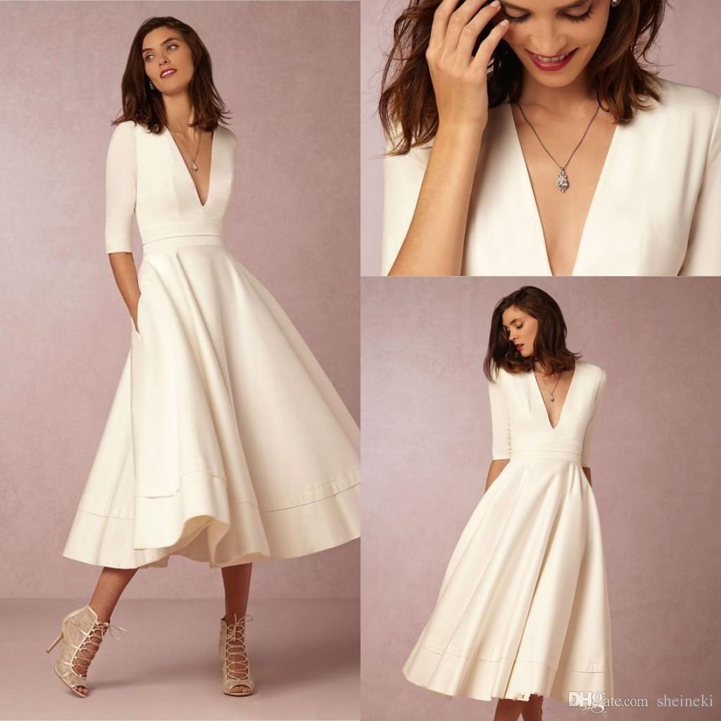 Bhldn vintage tealength cheap wedding dresses under deep v