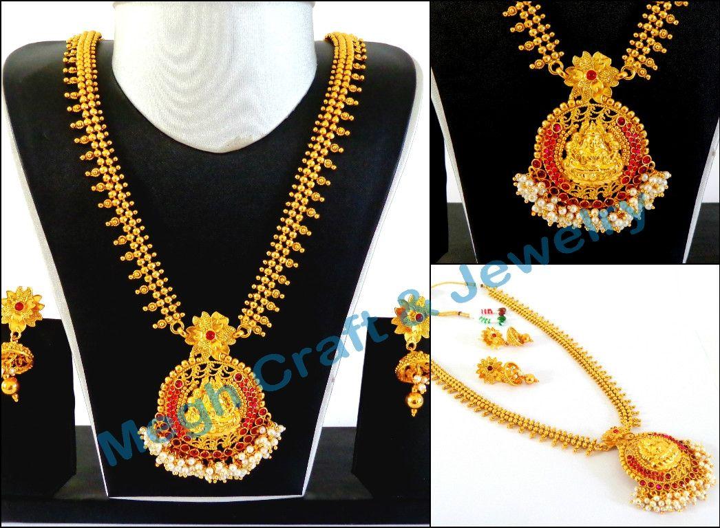 Designer laxmi temple necklace retail indianethnicjewelry