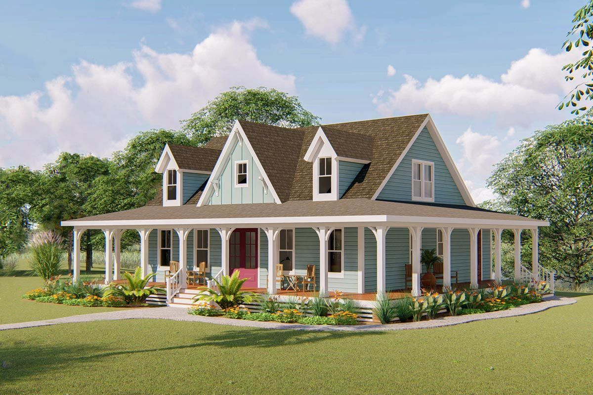 Plan 500051vv 3 Bed Country Home Plan With 3 Sided Wraparound Porch Country House Plans House With Porch Porch House Plans