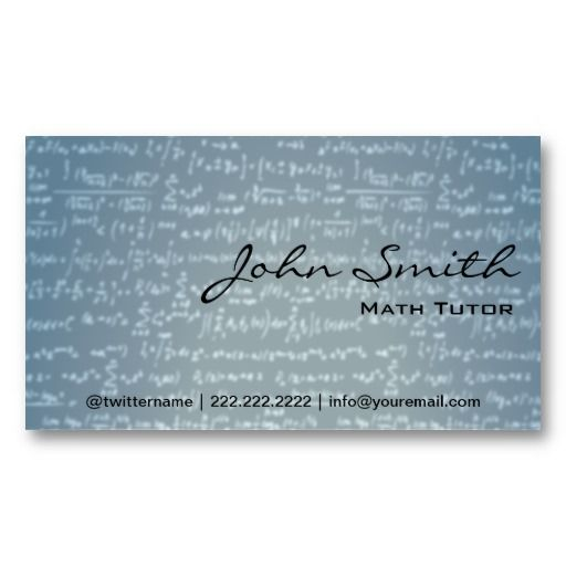 Light Blue Math Formulas Math Tutor Business Card  Tutor Business