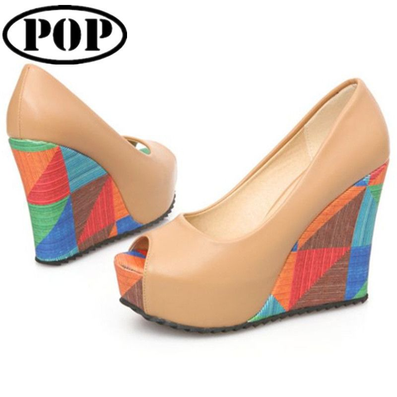 Plataforma Peep Toe Anabela - Pratty Shop