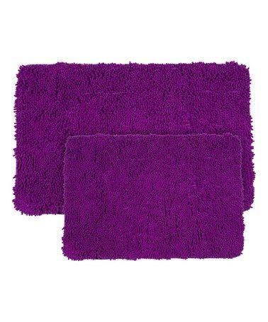 Loving This Purple Memory Foam Shag Bath Mat Set On Zulily