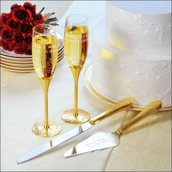 Parisian Romance Champagne Flutes Cake Server Set Gold