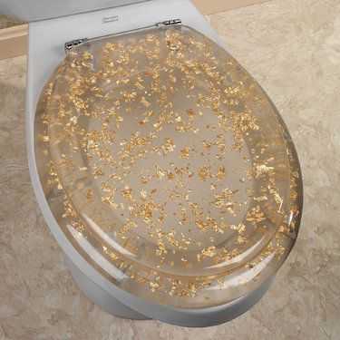 Gold Foil Elongated Toilet Seat