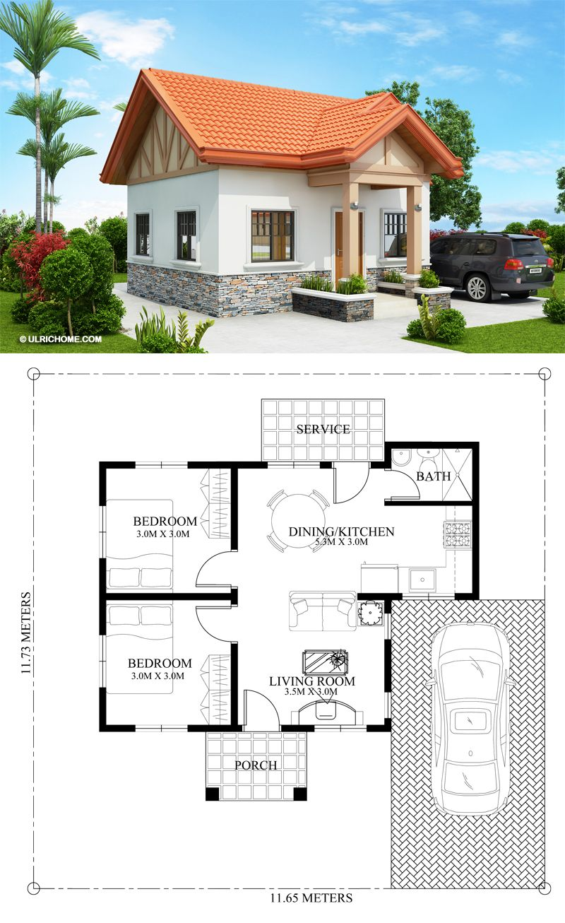 Captivating 2 Bedroom Home Plan - Ulric Home | Bungalow house design, Small  house design plans, Sims house plans
