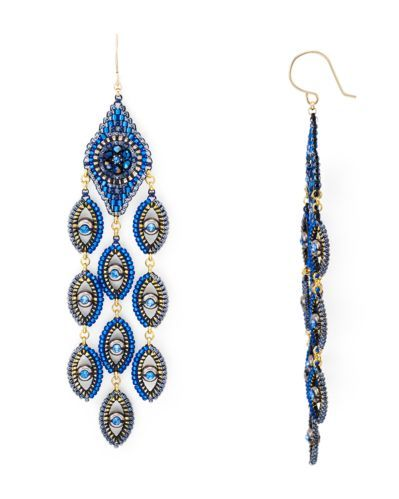Miguel Ases Peacock Chandelier Drop Earrings