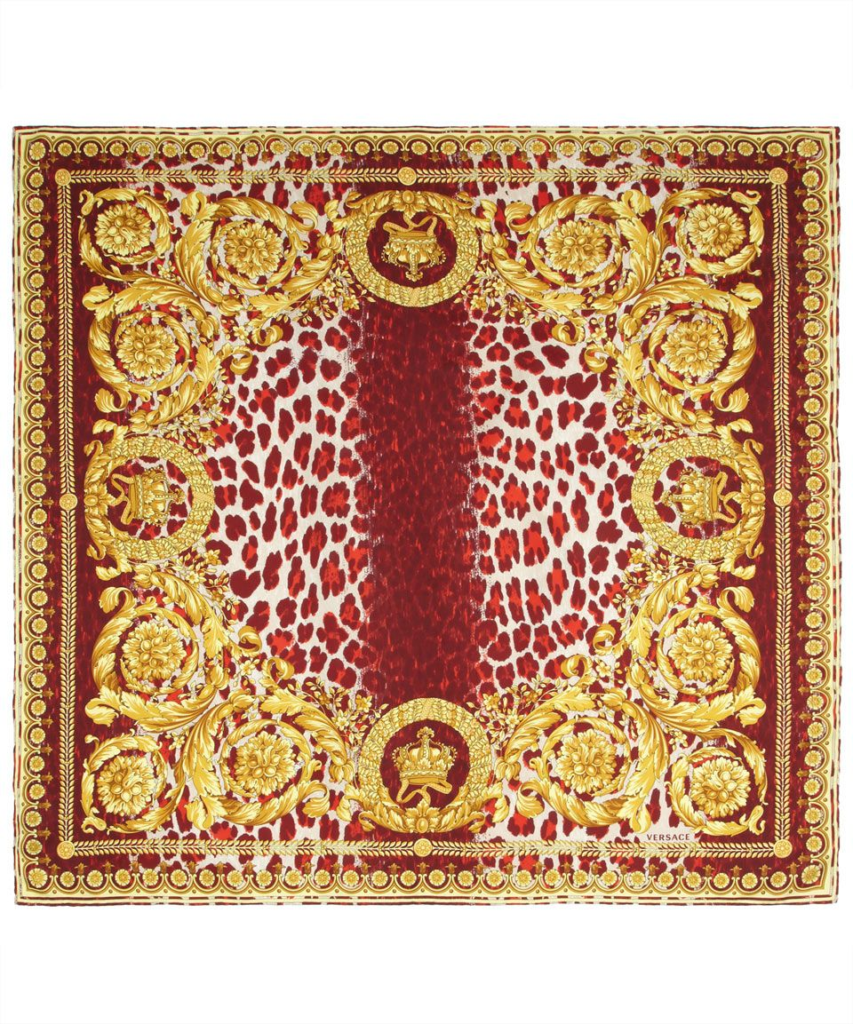 b075e04324fb Burgundy and Gold Leopard Brocade Silk Scarf, Verscae. Shop the latest silk  scarves from the Versace collection online at Liberty.co.uk