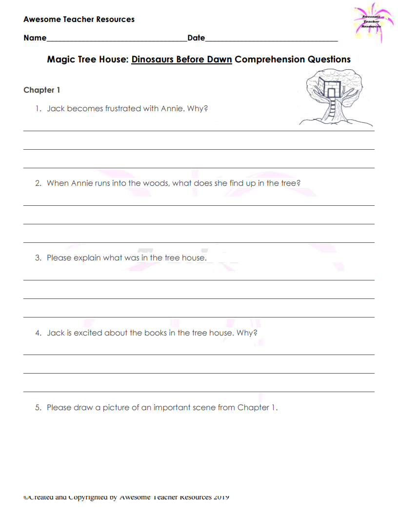 Magic Treehouse Dinosaurs Before Dark Worksheets Magic Treehouse Teacher Resources Reading Worksheets [ 1056 x 816 Pixel ]