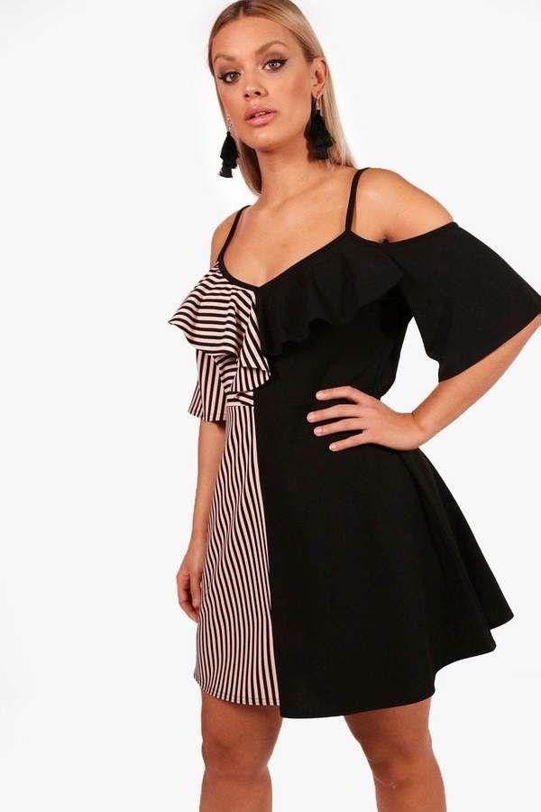 boohoo Plus Jamie Stripe Contrast Ruffle Skater Dress 1f1077e70