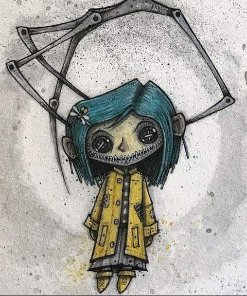 Coraline Tattoo Creepy Drawings Coraline Art Tim Burton Art